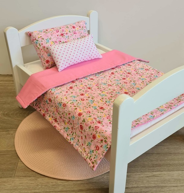 Dolls Bed, Cot or Pram Bedding Set - 3 Piece Pretty Pink Floral